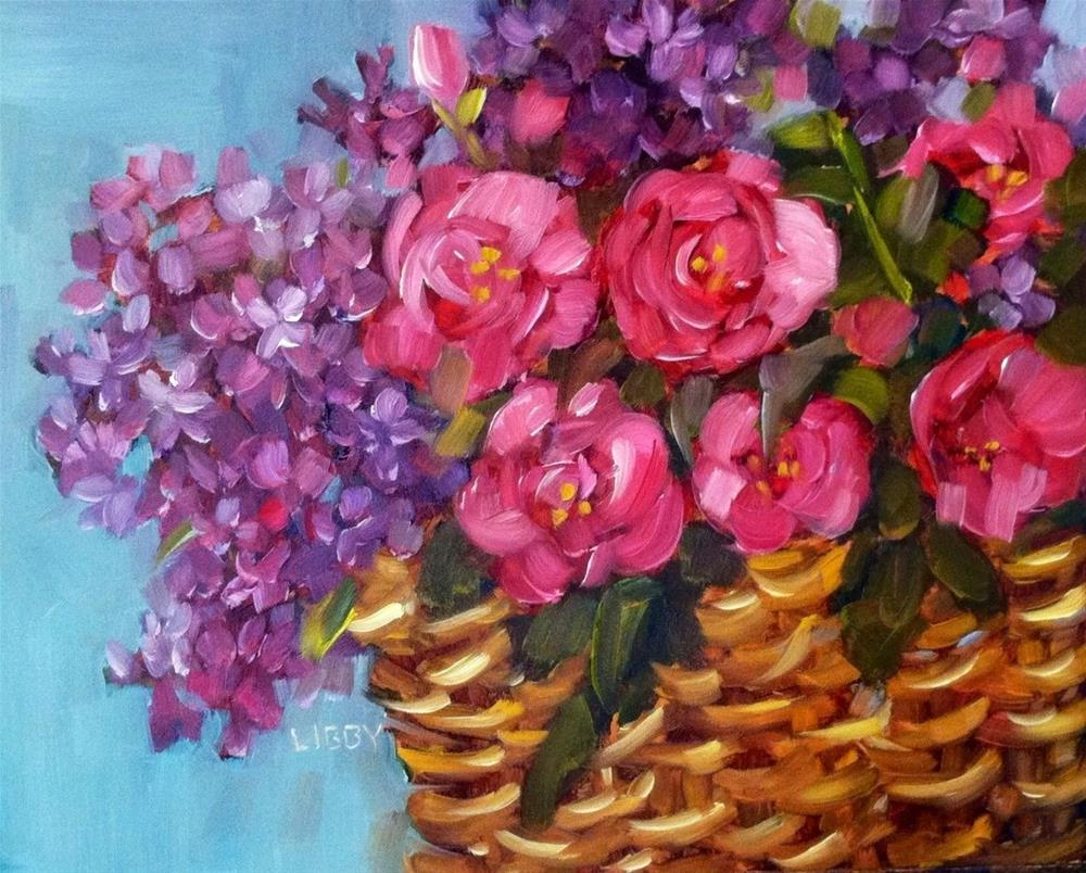 """Basketful of Blooms"" original fine art by Libby Anderson"