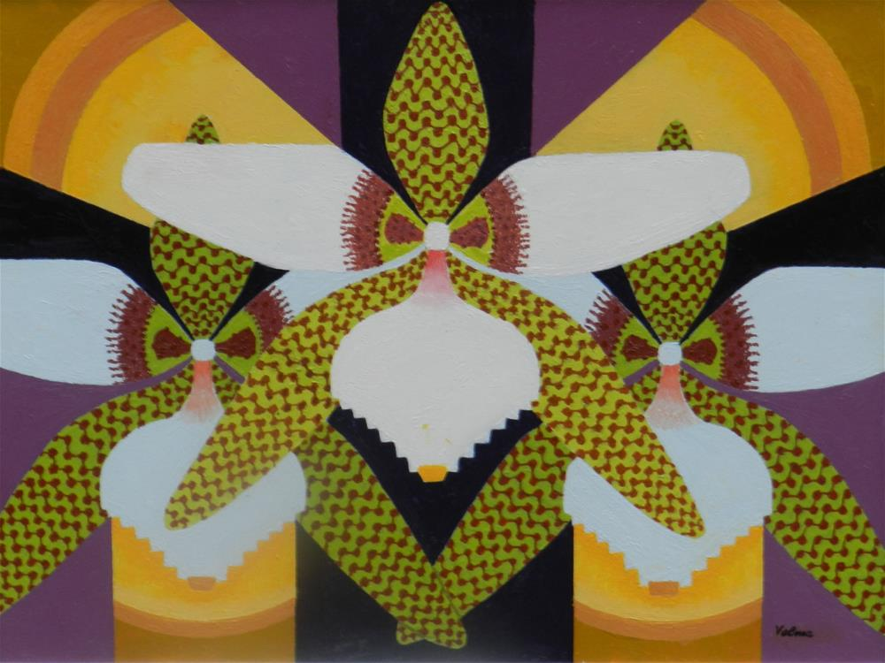 """Three Green and White Orchids"" original fine art by Velma Davies"