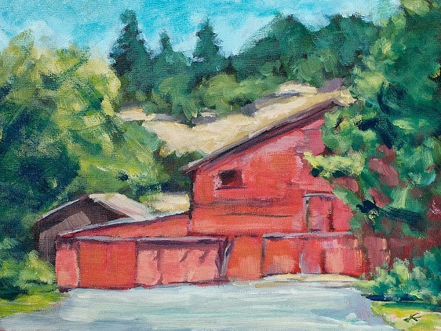 """Long Barn"" original fine art by J. Farnsworth"