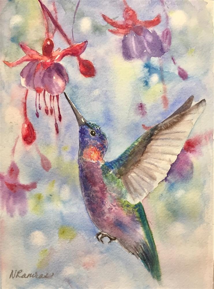 """Hummingbird and fusia"" original fine art by Natasha Ramras"