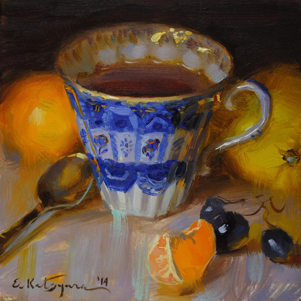 """Blue Cup and Citrus"" original fine art by Elena Katsyura"