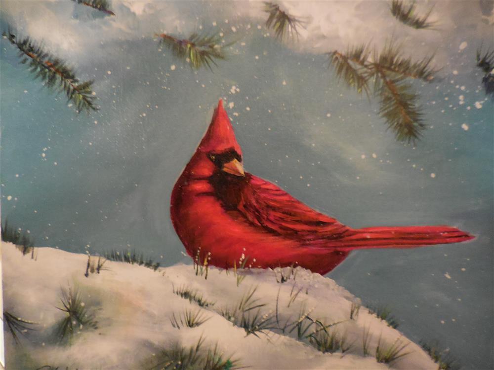 """Cardinal"" original fine art by Terri Nicholson"