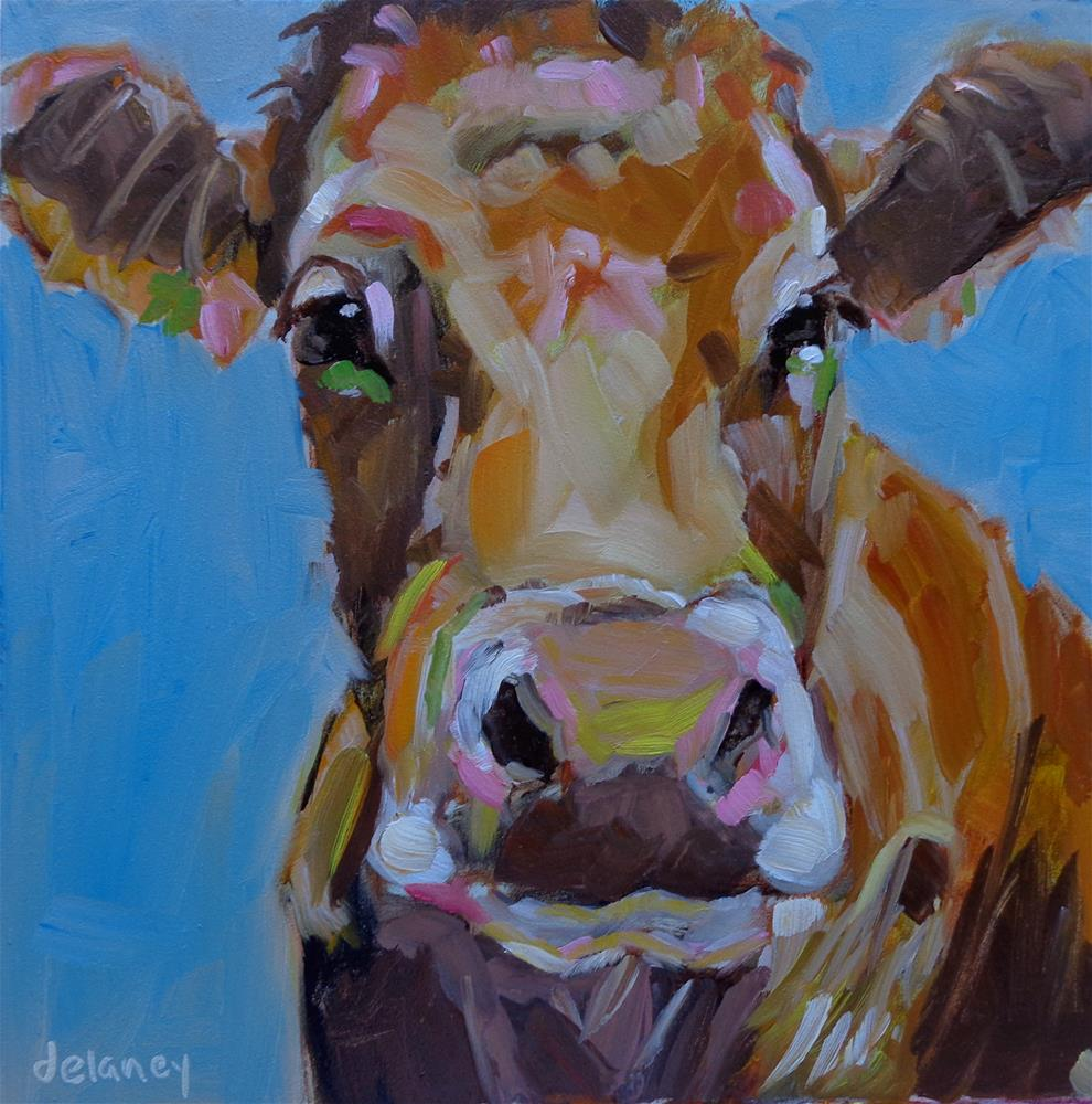 """Cow 129 ANOTHER BEAUTIFUL DAY"" original fine art by Jean Delaney"