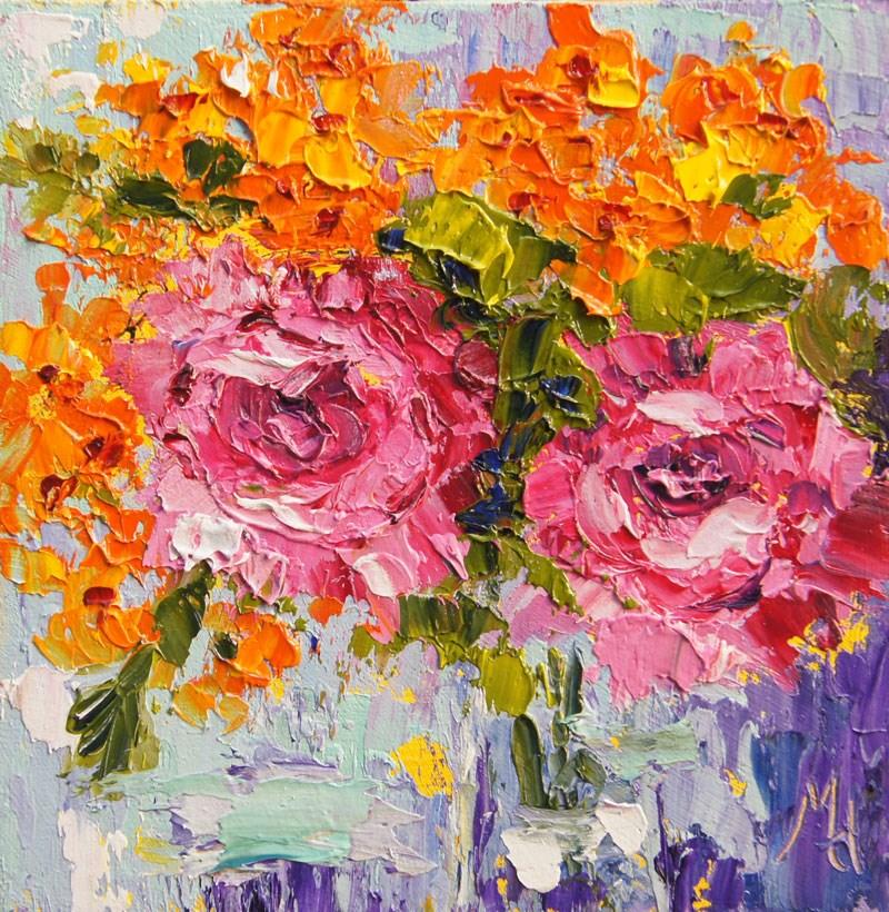 """Summer flowers palette knife painting"" original fine art by Marion Hedger"