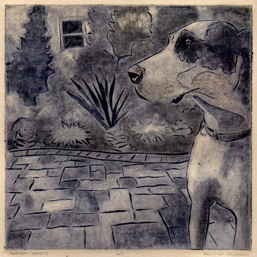 """Collagraph: Garden Watch (& a video tutorial on inking this plate in color & black & white)"" original fine art by Belinda Del Pesco"