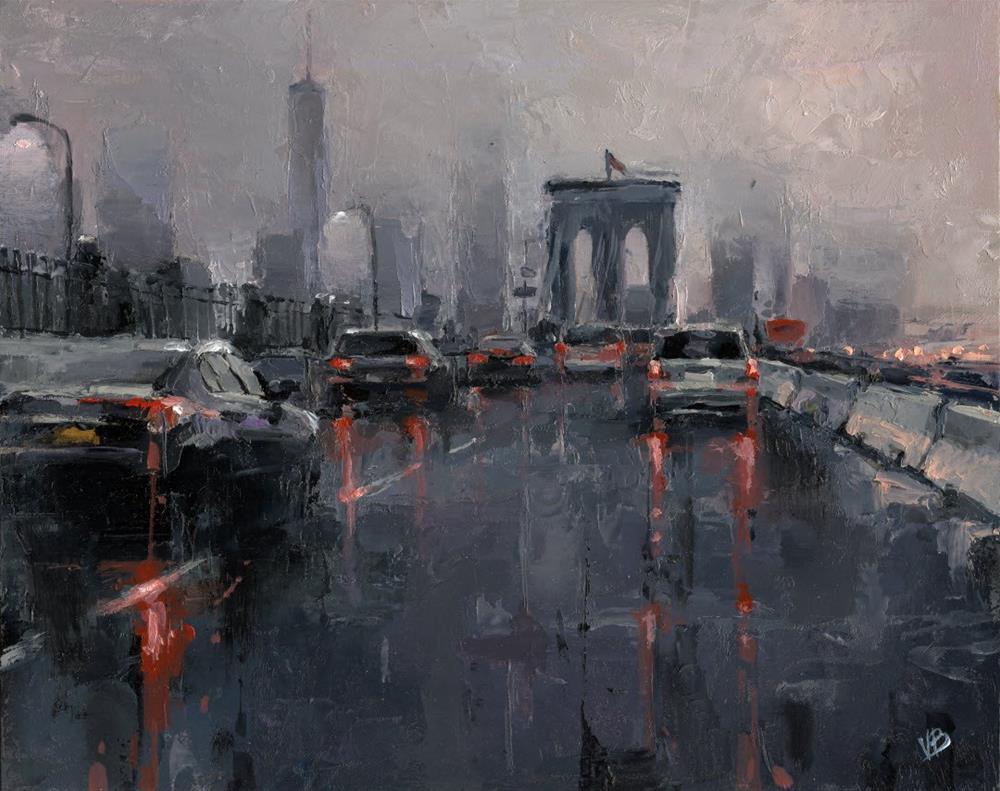 """""""Brooklyn Bridge on a Foggy Morning"""" original fine art by Victor Bauer"""