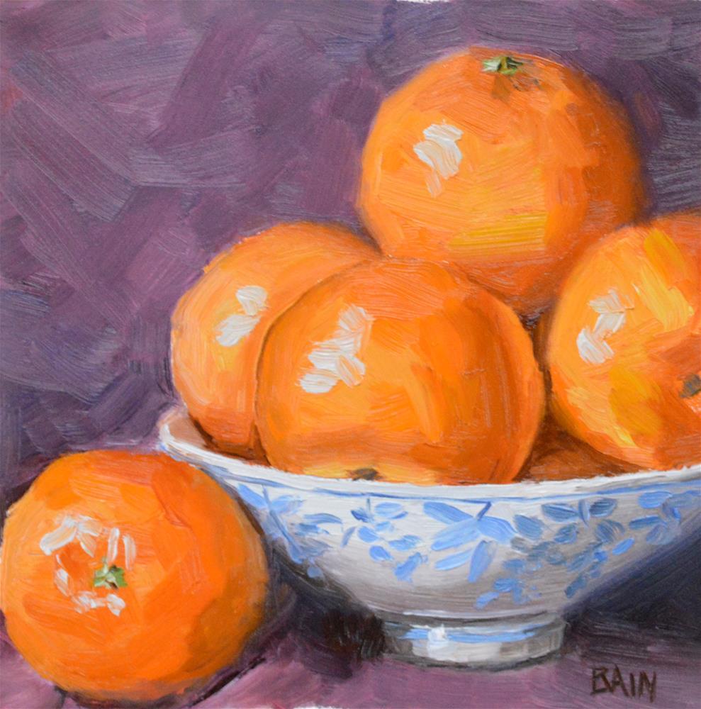 """Clementine in Bowl"" original fine art by Peter Bain"