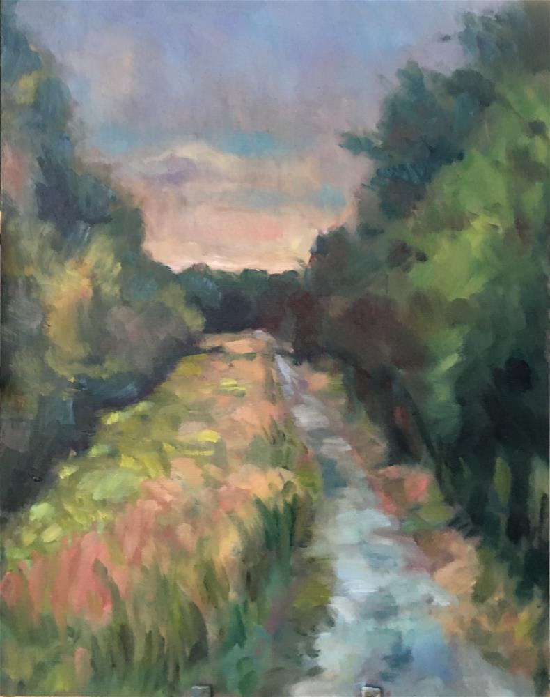 """Sunset at Cochran Shoals"" original fine art by Allison Doke"