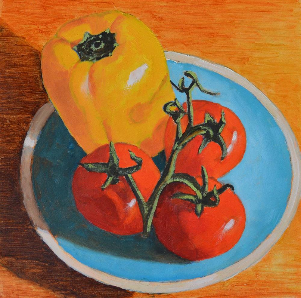 """Tomatoes and Peppers"" original fine art by Robert Frankis"