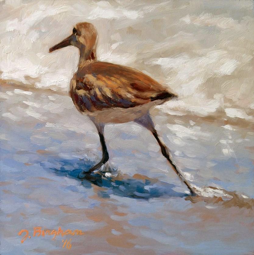 """""""Running Sandpiper"""" original fine art by Joanna Bingham"""