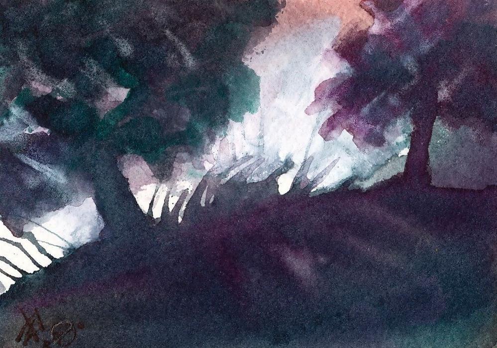 """Landing in the Park"" original fine art by Mark Allison"