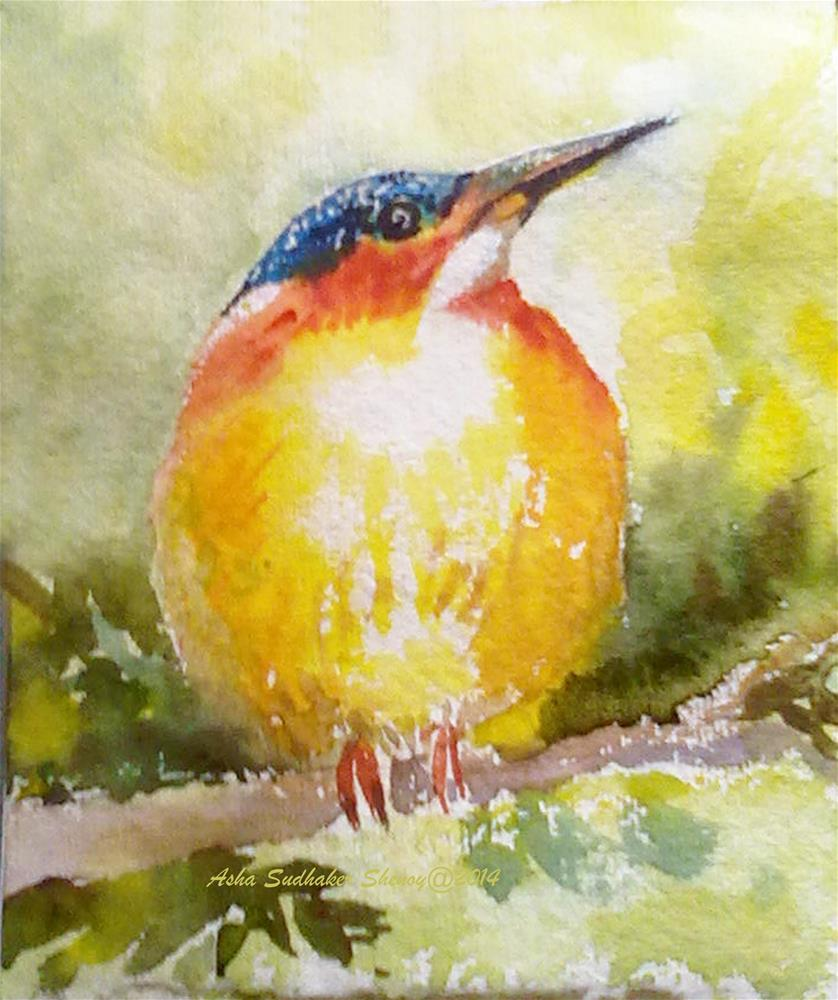 """Malagasy Kingfisher of Madagascar"" original fine art by Asha Shenoy S"