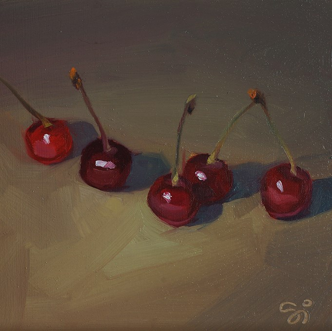 """""""Five cherries"""" original fine art by Istvan Schaller"""