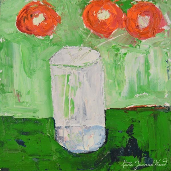 """Orange & Green Oil Floral Painting No 129"" original fine art by Katie Jeanne Wood"