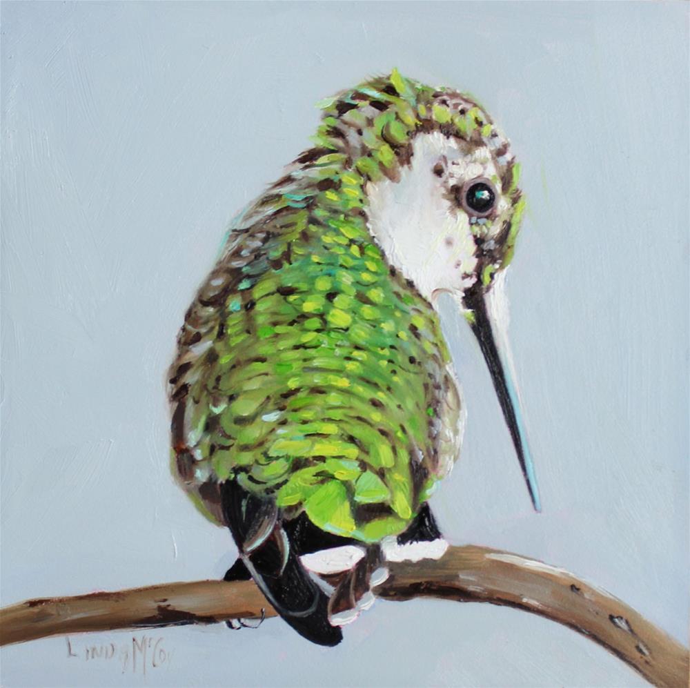 """Secret, Hummingbird Oil Painting"" original fine art by Linda McCoy"