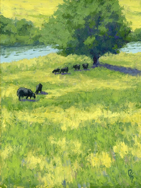 """Grazing by the Bear River"" original fine art by David King"