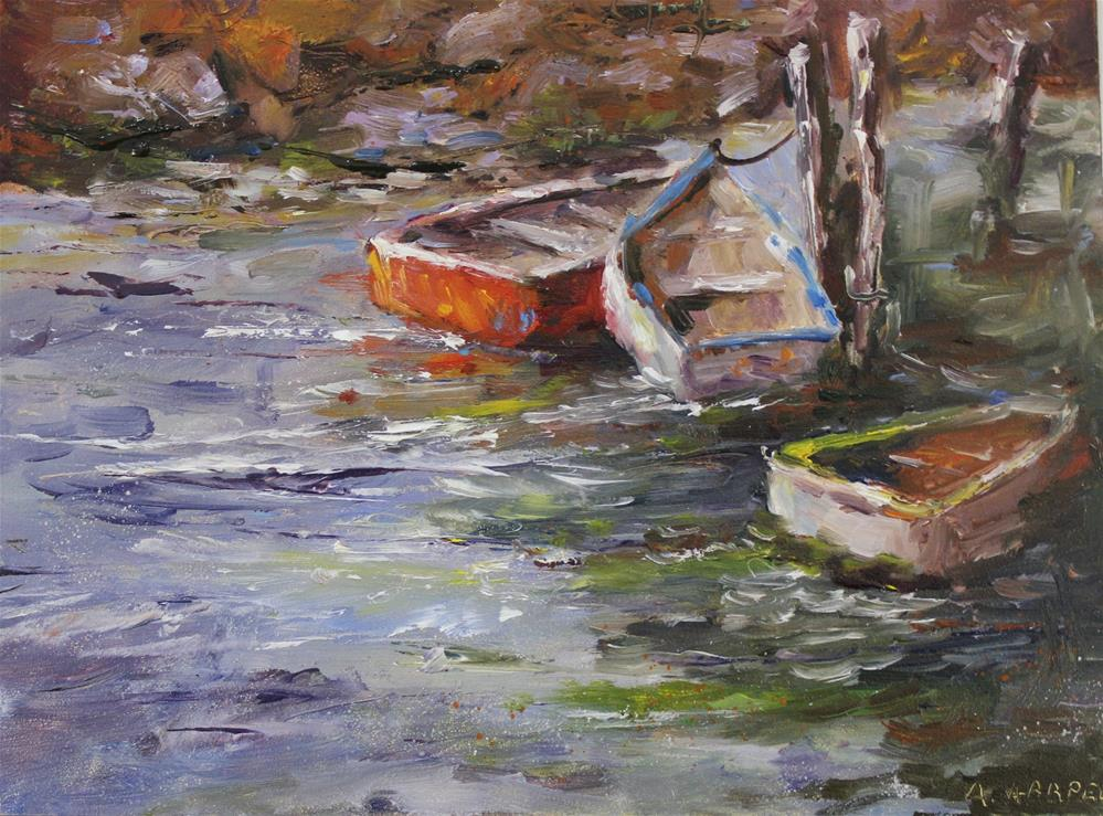 """Original oil dock boat pier ocean seascape painting"" original fine art by Alice Harpel"