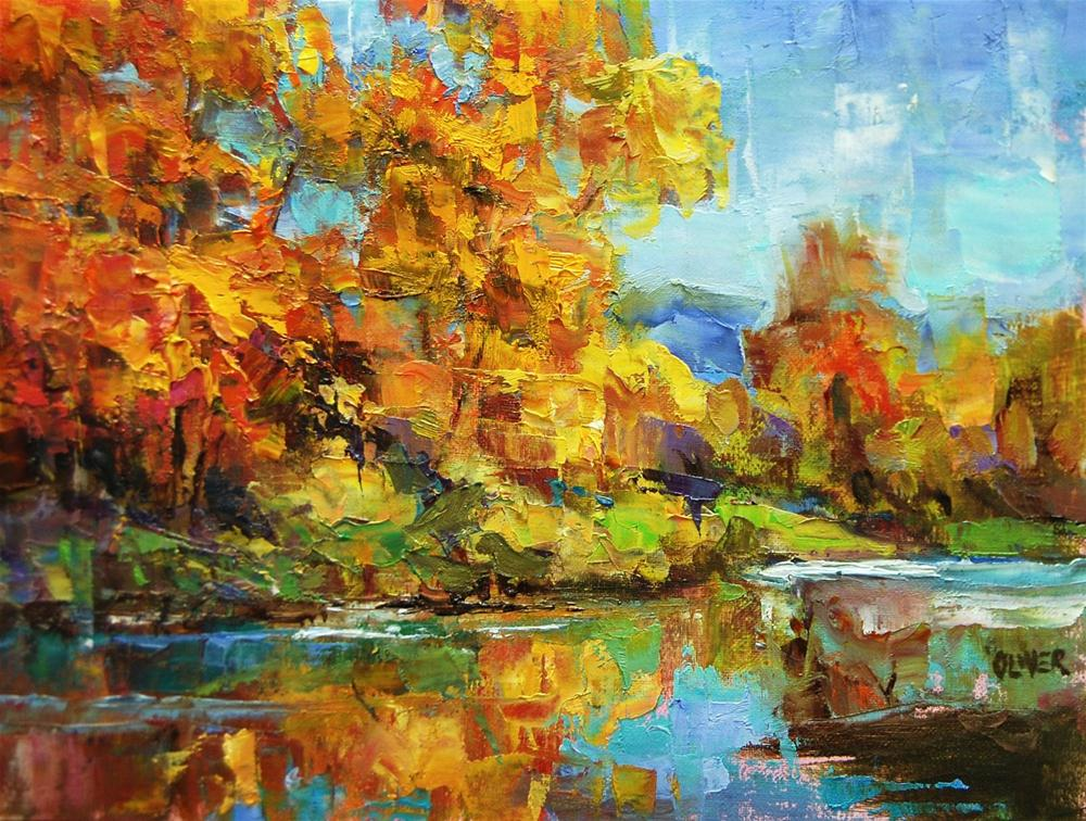 """Fall Colors Along the River"" original fine art by Julie Ford Oliver"