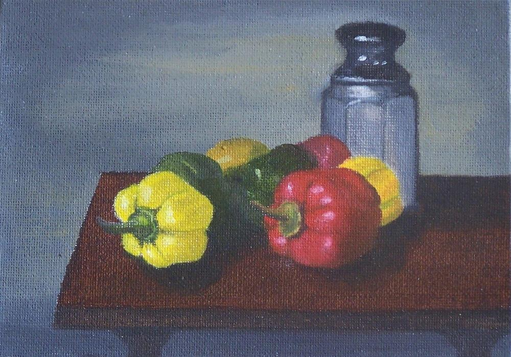 """Peppers and Jar"" original fine art by John Marcum"