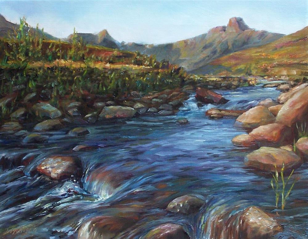 """""""Amphitheater in Drakensberg"""" original fine art by Donna Munsch"""