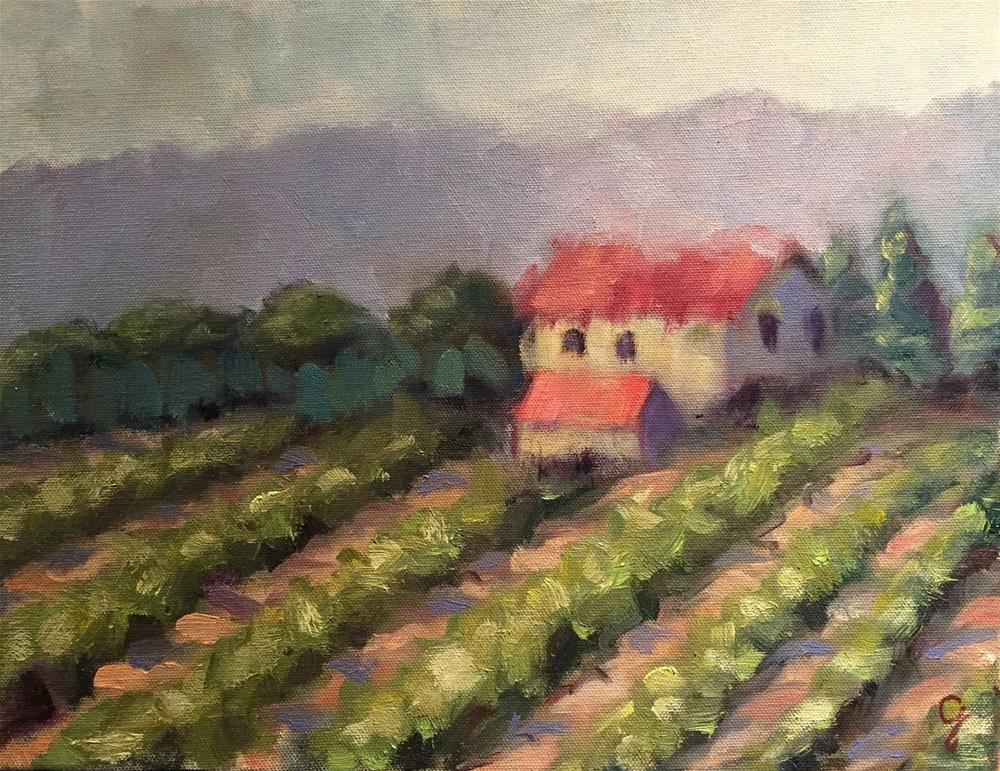 """Tuscan Vineyard"" original fine art by Gayle Lambeth"
