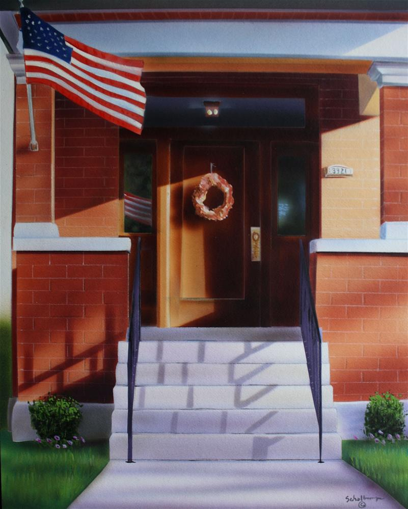 """Porch on Oak Street"" original fine art by Fred Schollmeyer"