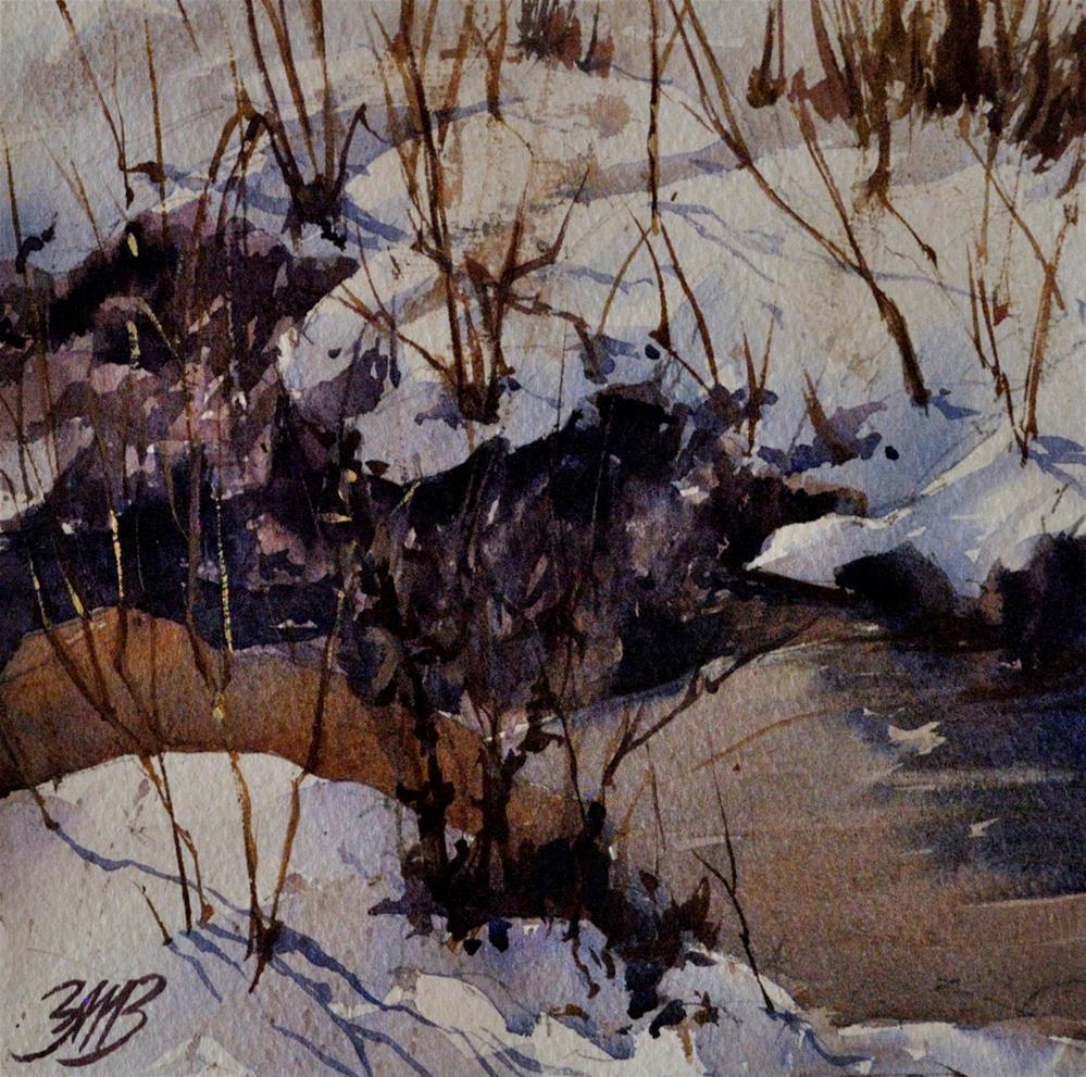 """Snowy Creek"" original fine art by Brienne M Brown"