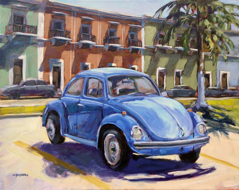"""Blue Bug"" original fine art by Jeanne Bruneau"