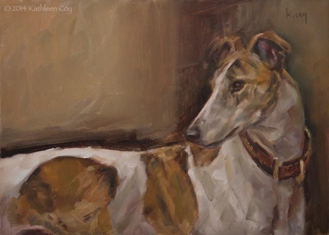 """""""45 - Greyhound"""" original fine art by Kathleen Coy"""
