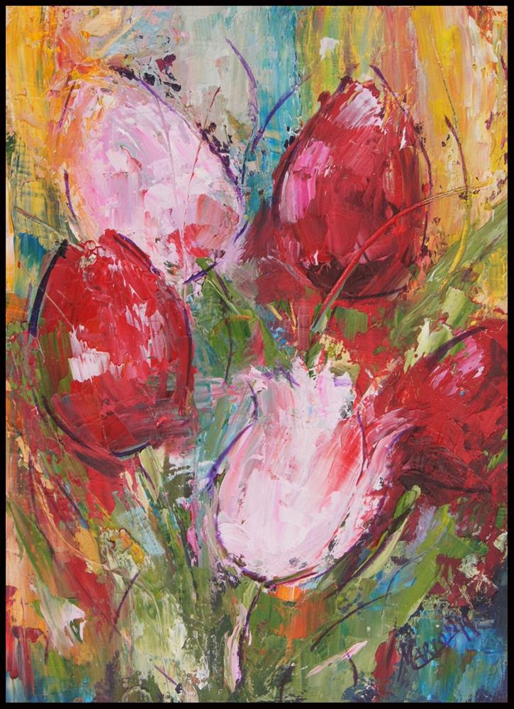 """Abstract Tulips Oil Painting"" original fine art by Marion Hedger"