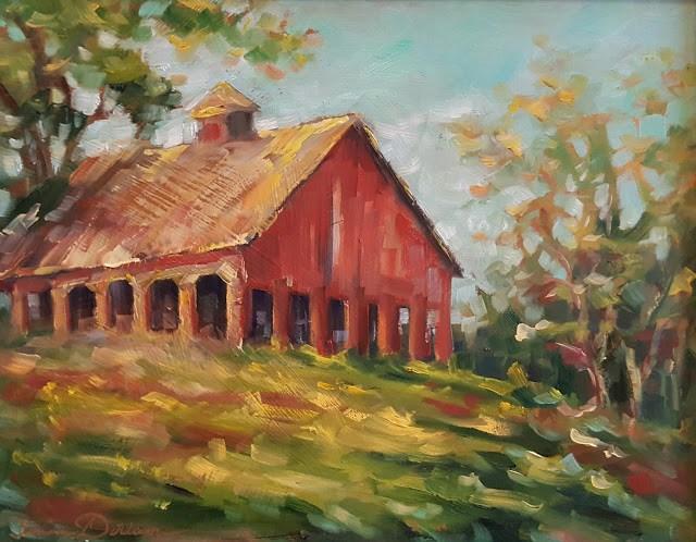 """Lake Creek Barn"" original fine art by Tammie Dickerson"