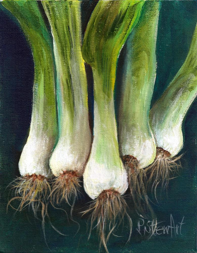 """10x8 Green Onions All in a Row Leeks Scallions Food Art SFA Small Fine Art Penny StewArt"" original fine art by Penny Lee StewArt"