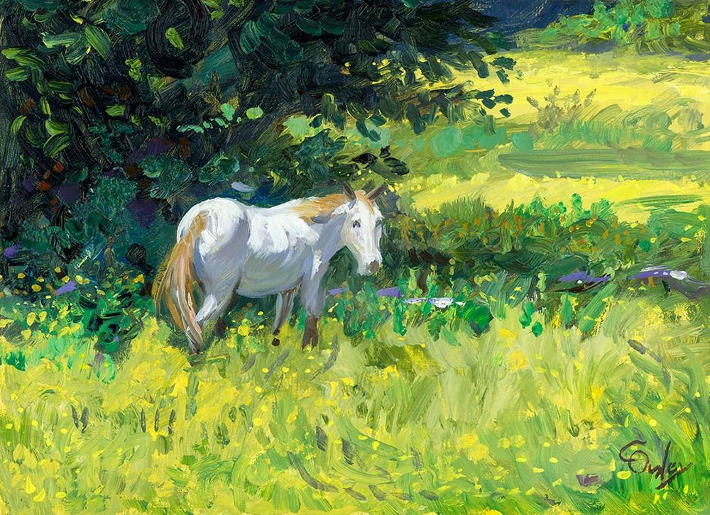 """""""White Horse in Yellow Pasture"""" original fine art by Chris Ousley"""