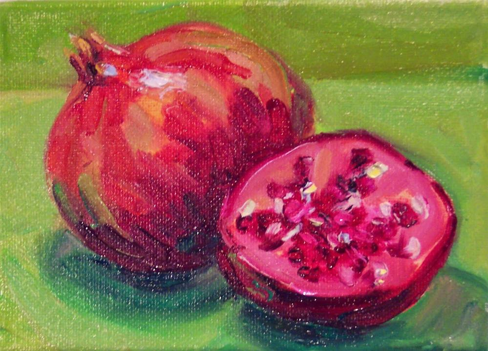 """December Pomegranates,still life,oil on canvas,5x7,price$200"" original fine art by Joy Olney"