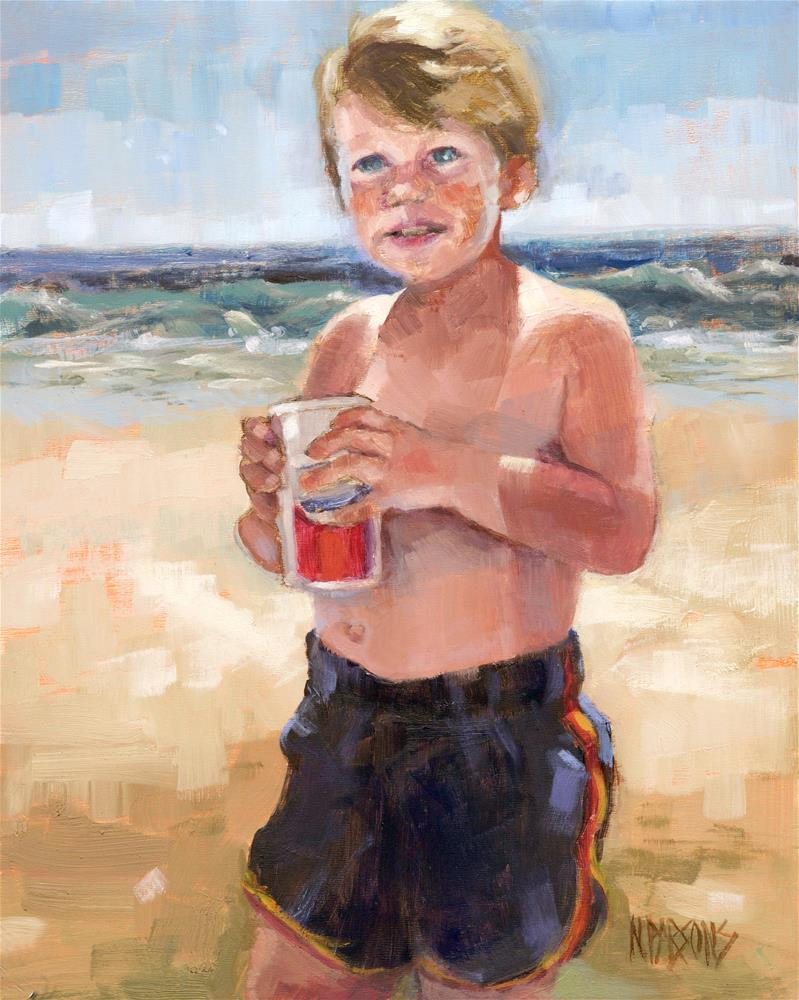 """The Beach Boy"" original fine art by Nancy Parsons"