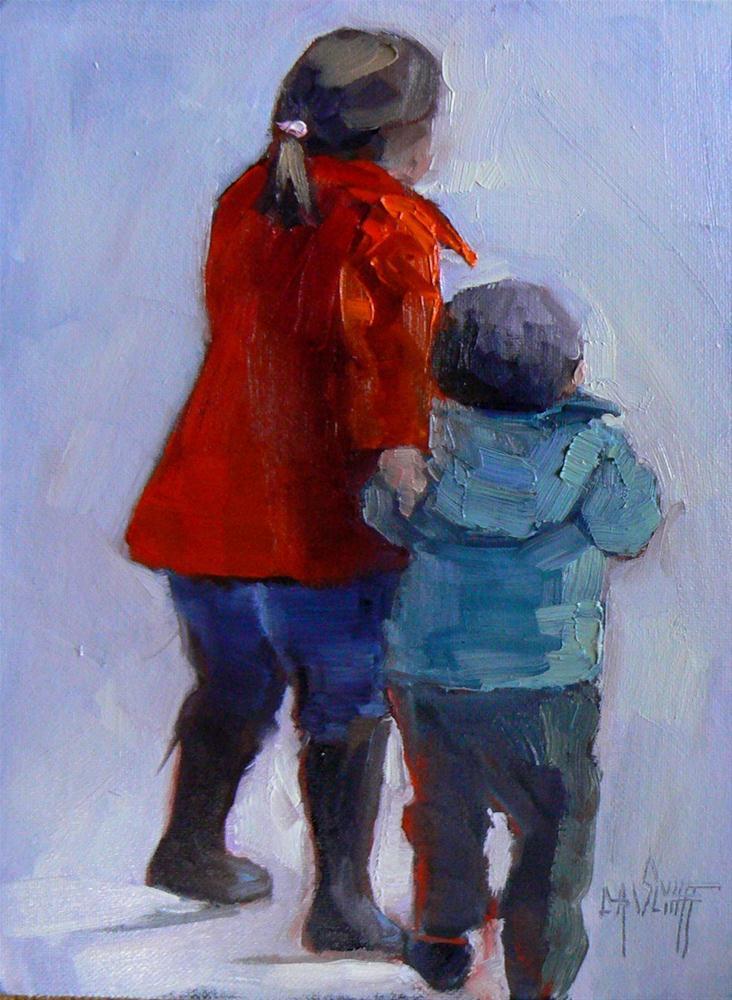"""BIG SISTER, 8x6 Oil"" original fine art by Carol Schiff"