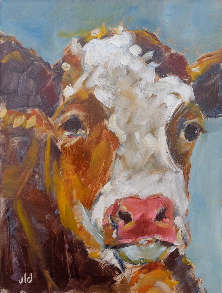 """""""Cow 62 Big baby"""" original fine art by Jean Delaney"""