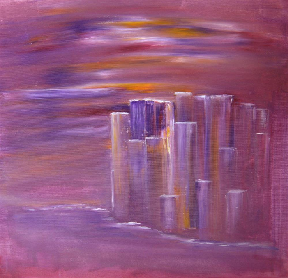 """Purple Cityscape Sunset"" original fine art by Alina Frent"