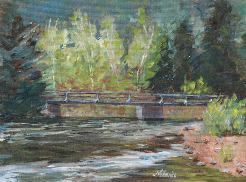 """Bridge Over the Poudre"" original fine art by Mary Benke"