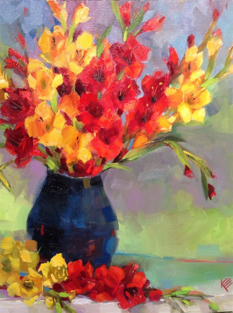 """Gladiolus in Blue"" original fine art by Krista Eaton"