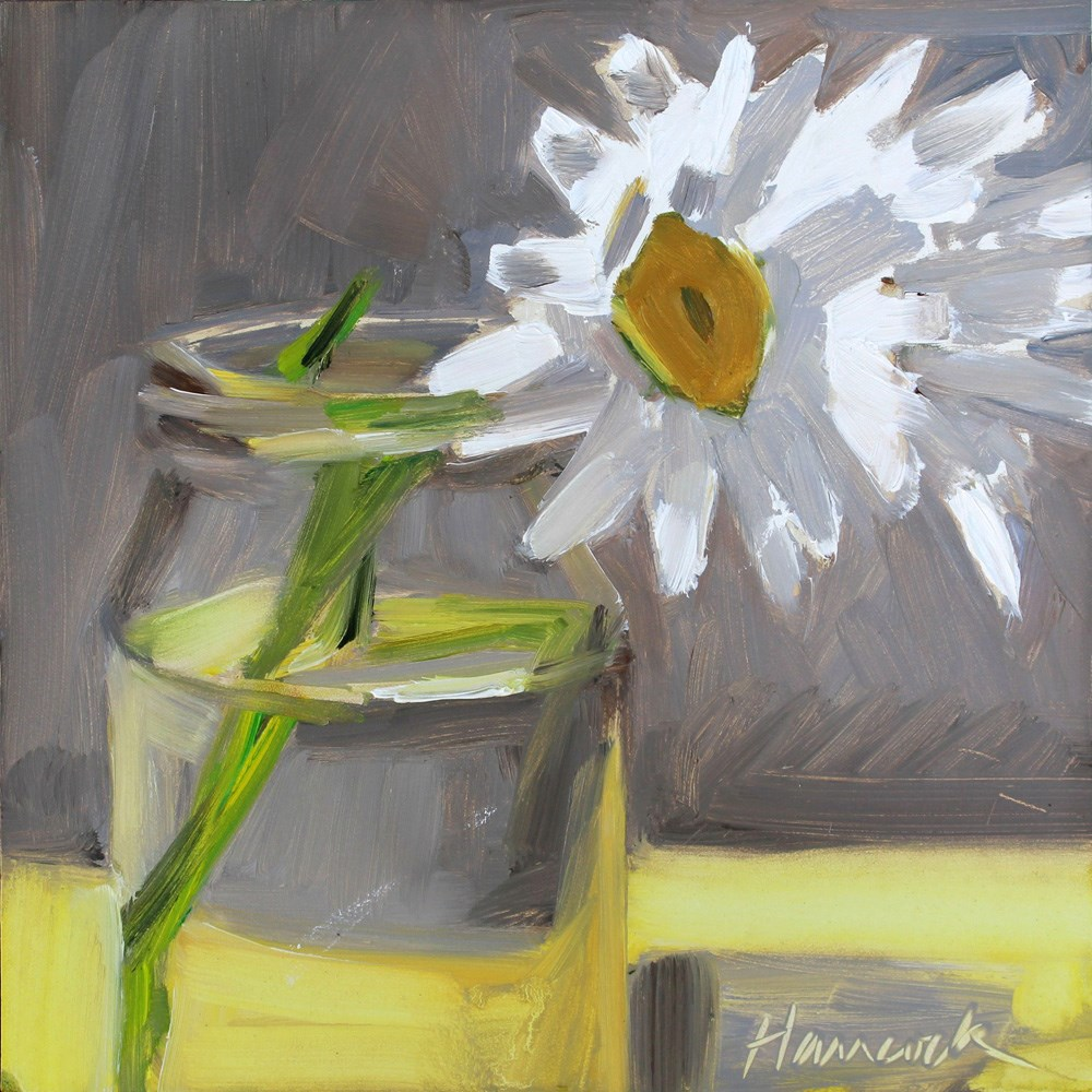 """Gold Centered Daisies on Yellow"" original fine art by Gretchen Hancock"