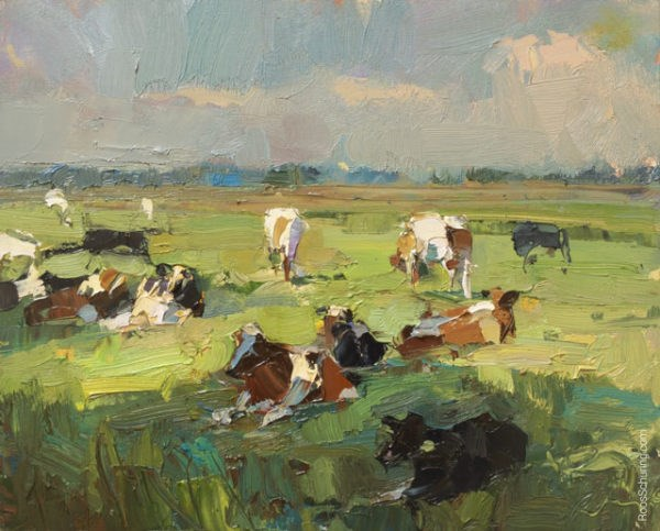 """Painting Cows on a Sunny Day"" original fine art by Roos Schuring"