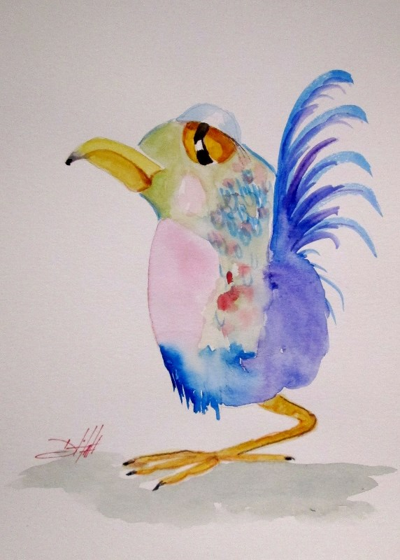 """Chubby Bird"" original fine art by Delilah Smith"