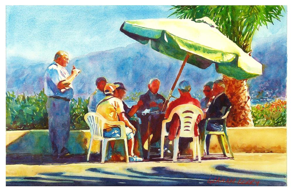 """Cards in the sun."" original fine art by Graham Berry"