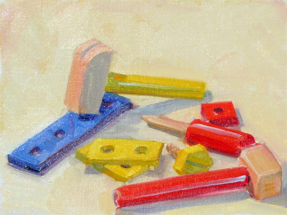 """Toy Tools,still life,oil on linen,9x12,price$300"" original fine art by Joy Olney"