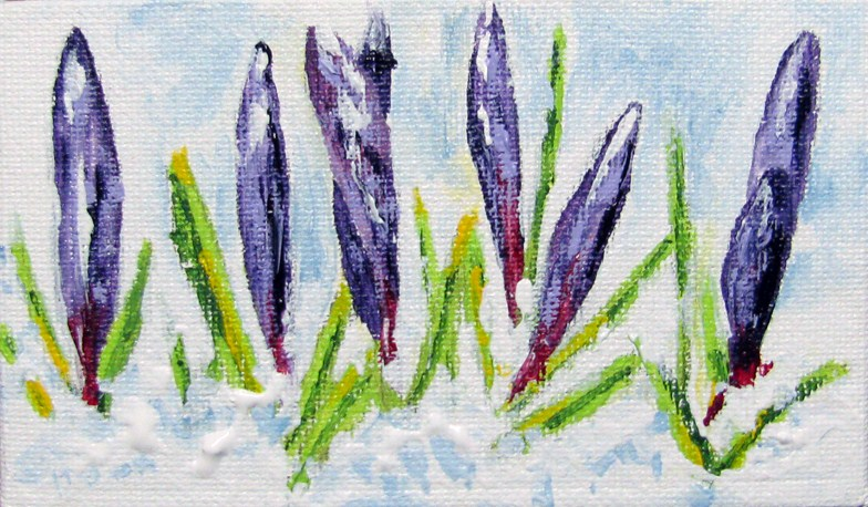 """Snow Crocus's"" original fine art by Nan Johnson"