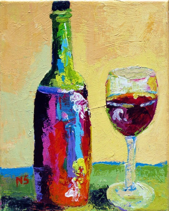 Wine and Glass 12059 original fine art by Nancy Standlee