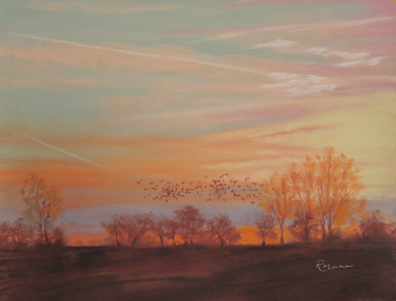 """Norfolk Sunset"" original fine art by Ruth Mann"