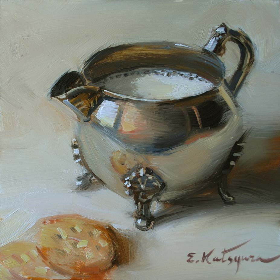 """Milk and Crackers"" original fine art by Elena Katsyura"