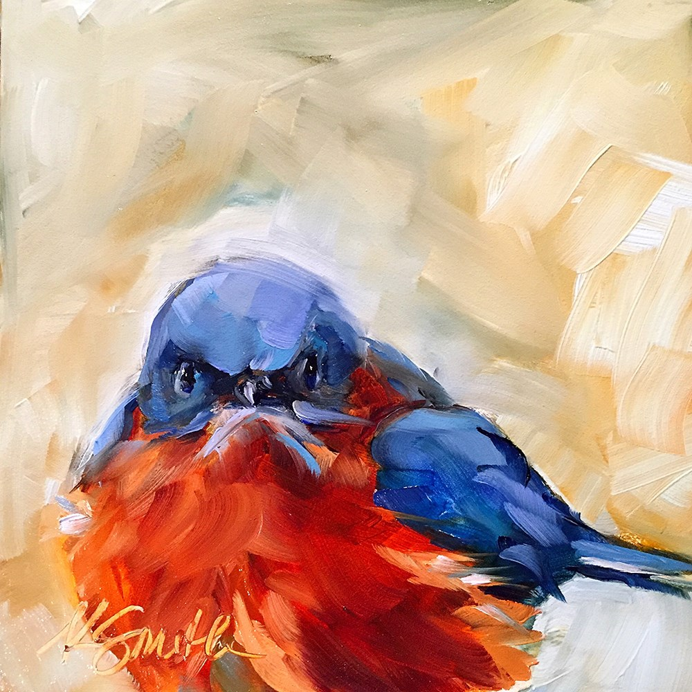 """spring bluebird"" original fine art by Kim Smith"